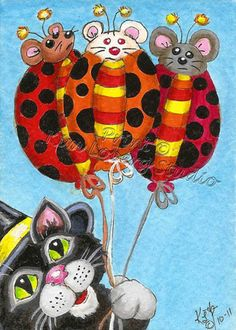 Witch Cat Lady Bug Mouse Balloons aceo Print EBSQ Kim Loberg Halloween Art Kitty #IllustrationArt
