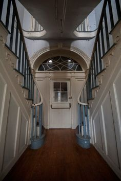 Central staircase of asylum, first floor; Western State Hospital (Virginia)