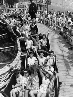 Kids on ride at EDGEWATER PARK in Detroit, MI   Photo taken in Summer of 1937