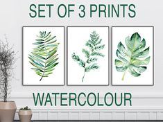 Set of 3 digital art prints in botanical style grouped as green leaf wall decor. Printable and instant download. Hello, welcome to OnceUponPaperCo print shop creating tasteful bohemian inspired wall art prints for modern interior designs and happy homes. We love a new style