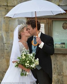 Just married: The happy couple, Lady Melissa Percy and her husband Thomas van Staubenzee