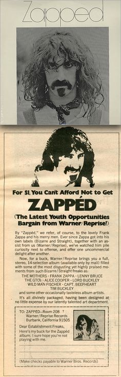 Zapped (1969) LP by Frank Zappa & Various Artists