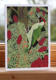 Green Woodpecker Card by Bird, the perfect gift for Explore more unique gifts in our curated marketplace. Green Woodpecker, Birds 2, Bird Cards, Kraft Envelopes, Gouache, I Card, Original Paintings, Unique Gifts, Greeting Cards
