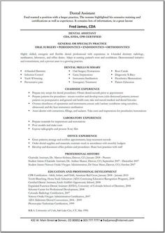 dental assistant resume dentist health resumecompanion com