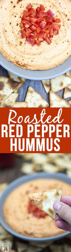Roasted Red Pepper Hummus - This sweet roasted bell pepper hummus is easy, quick and so much better than store bought. Its great for a healthy snack paired with crackers, veggies, or even on a sandwich.