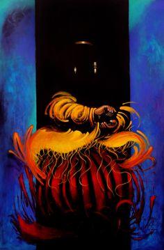 """""""Cholita con la caja de Pandora"""", acrílico sobre lienzo, 2014"""