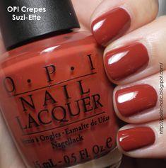 Crepes is a caramel red creme. Very interesting polish. Fall Toe Nails, Get Nails, Hair And Nails, Autumn Nails, Opi Nail Polish, Manicure And Pedicure, Mani Pedi, Nail Polishes, Opi Nail Colors