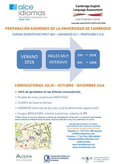 Cambridge Examinations. Cursos intensivos Verano 2015