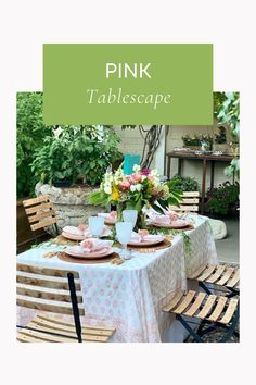 Pink table inspo. Pink tablescape Summer Table Decorations, Pink Table, Outdoor Furniture Sets, Outdoor Decor, Tablescapes, Entertaining, Posts, Blog, Home Decor