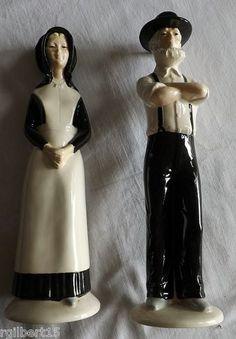 Amish Man Woman Figures Vintage Handmade Pottery