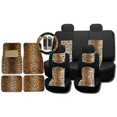 Amazon.com: New and Exclusive Mesh Animal Print Accent Interior Set Cheetah Tan Brown 15pc Seat Covers Front & Back Lowback, Back Bench, Steering Wheel & Seat Belt Covers - Floor Mats: Automotive