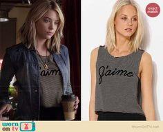 "Hanna's striped ""J'aime"" top on Pretty Little Liars.  Outfit Details: http://wornontv.net/34895/ #PLL"