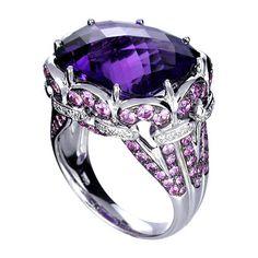 Amethyst, Pink Sapphire & Diamond Ring