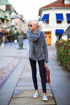Grey Oversize Sweater • skinnies • tennis flats