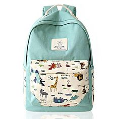Fresh Animal Canvas Backpack Elephant Giraffe Print Schoolbag Backpack