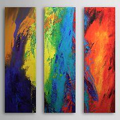 Hand geschilderd olieverfschilderij Abstract met gestrekte frame Set van 3 1308-AB0585 – EUR € 103.12