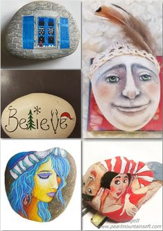 Rock Painting Ideas that will inspire you to pick up that paintbrush (or paint pen) and start creating! Don't be intimidated by all the rocks you see online. Stone Crafts, Rock Crafts, Hobbies And Crafts, Arts And Crafts, Painted Rocks Kids, Painted Stones, Rock Design, Design Design, Weird And Wonderful