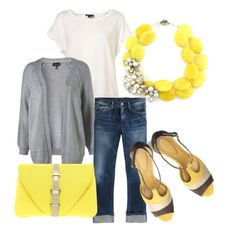Grey and yellow. Created by sproutfit. From polyvore