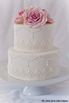 Wedding Cake - 2 Tier - Fondant - White - With Decorative Pattern - With Flowers
