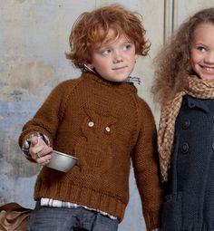 Modèle pull hibou en torsades - Modèles tricot enfant - Phildar