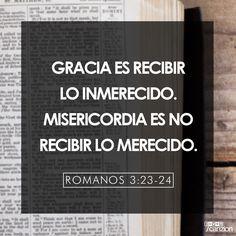 Romanos 3:23-24 por cuanto todos pecaron, y están destituidos de la gloria de Dios,  siendo justificados gratuitamente por su gracia, mediante la redención que es en Cristo Jesús.♔