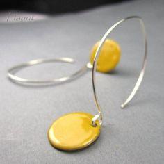 Enamel earrings, sterling silver earring, yellow, enamel jewelry, Dot: