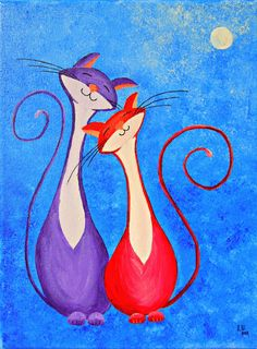 Original Fantasy Cat Acrylic Painting for Sale by NaturelandsAndCo, $50.00