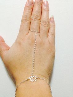 Sterling silver lotus hand jewelry hand chain on Etsy, $70.00