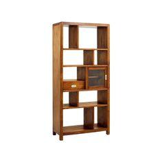 #Librería de #madera, con 1 cajón, 1 puerta de cristal corredera y 9 huecos