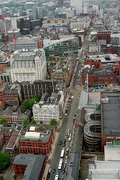 Aerial view of Deansgate from the Beetham Tower, Manchester City Centre.