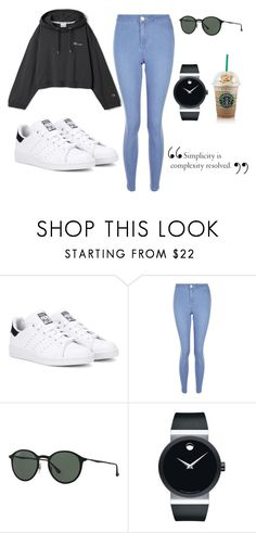 """casual"" by joana-mendes-2 on Polyvore featuring adidas Originals, New Look, Ray-Ban and Movado"