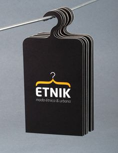 hanger business card, clothing business card, fashion business card, businesscard idea, clever business card ideas