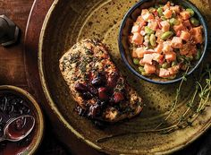 Thyme Pork with Cherry Sauce and Sweet Potato-Edamame Salad from Publix Aprons #Contest
