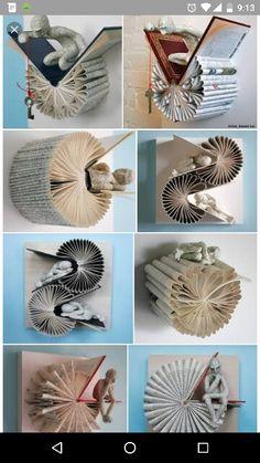 ▷ ideas and inspirations for a DIY wall shelfwall shelf wood piece of wood diy shelf books creative wall designBest Origami Art Sculpture Book Folding Ideas, Best Book Folding Ideas Art Sculpture OrigamiBest Origami Old Book Crafts, Book Page Crafts, Diy Arts And Crafts, Fall Crafts, Diy Crafts, Art Origami, Origami Folding, Altered Book Art, Folded Book Art