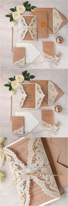 Ivory kraft paper laser cut lace rustic wedding invitations / www.deerpea… Ivory Kraft Paper Laser Cut Lace Rustic Wedding Invitations / www. Vintage Invitations, Laser Cut Wedding Invitations, Diy Invitations, Wedding Stationery, Invitation Ideas, Invitations Online, Invitation Paper, Wedding Invitation Lace, Spring Wedding Invitations