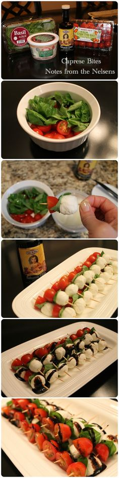 Notes from the Nelsens: 5 Easy and Delicious Appetizers! Easy Appetizer Recipes, Yummy Appetizers, Finger Food Appetizers, Finger Foods, Easy Potluck Recipes, Tomato Appetizers, Quick And Easy Appetizers, Appetizers Superbowl, Caprese Appetizer