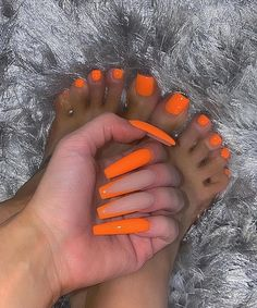 Orange Acrylic Nails, Bling Acrylic Nails, Square Acrylic Nails, Summer Acrylic Nails, Best Acrylic Nails, Orange Nails, Bling Nails, Summer Nails, Acrylic Toes