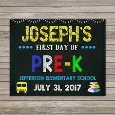 First Day of Pre K  Chalkboard First Day of School Chalkboard