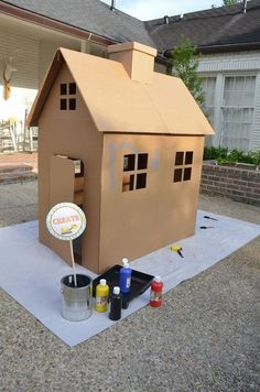 Give kids paint and let them create their very own playhouse.  What an incredibly fun idea!  Now I just need to make a cardboard house canvas