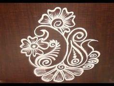 Very Creative & Simple Kolam / rangoli Design without using Dots Rangoli Side Designs, Free Hand Rangoli Design, Small Rangoli Design, Rangoli Ideas, Rangoli Designs Diwali, Rangoli Designs With Dots, Rangoli Designs Images, Kolam Rangoli, Beautiful Rangoli Designs