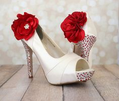 Wedding Shoes - Ivory Platform Peep Toe Wedding Shoes with Red and Silver Rhinestones on Heel and Platform Red Trio Flowers on Ankle on Etsy, £211.66