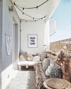 Pray for surf wall art, surf summer decor, trendy cozy balcony decor, diy decor ideas, printable art Tiny Balcony, Small Balcony Decor, Outdoor Balcony, Balcony Ideas, Patio Ideas, Small Flat Decor, Narrow Balcony, Garden Ideas, Small Balcony Design