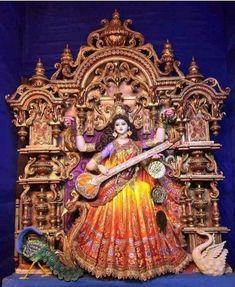 Saraswati Puja Pandal, Saraswati Murti, Saraswati Photo, Durga Puja Kolkata, Kali Puja, Durga Ji, Saraswati Goddess, Kali Goddess, Goddess Art
