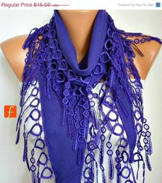 """Just HAD to pin this to let """"fatwoman"""" know that I love the stuff on the ETSY site. Wow - you've got inexpensive, cute stuff to tart up outfits. I'll most def be going back to check it out. really - - - BIG SALE Purple Scarf - Pashmina Scarf - Cowl Scarf with Lace Edge - fatwoman"""