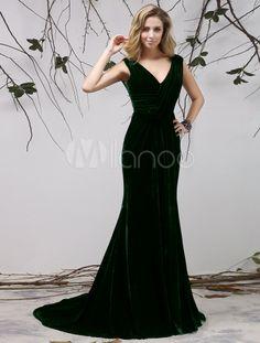 Dark Green V-Neck Pleated Mermaid Sleeveless Velvet Evening Dress - Milanoo.com