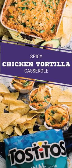 Sponsored by Frito-Lay. For game day comfort food at its finest, check out this recipe for Spicy Chicken Tortilla Casserole! TOSTITOS® Original Restaurant Style Tortilla Chips add the perfect crunch while bold seasonings, salsa, black beans, and poblano peppers add the flavor—making this cheesy dish a hit at your Super Bowl LII party. Grab everything you need for this shareable snack before kickoff to elevate your entertaining game.