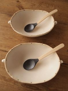 Cool irregular serving dishes and dipped spoons. =)