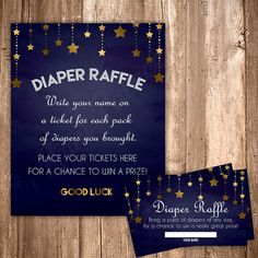 Diaper Raffle Ticket, Twinkle Little Star Baby Boy Shower - Blue and Gold, Digital Download, Boy Baby Shower