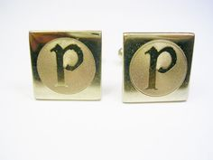 Vintage Cufflinks / Initial Monogram / gold tone by unclesteampunk