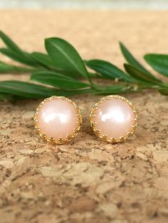 genuine peach moonstone 8mm smooth round stud earrings with 14k gold vermeil bezel and post - peach moonstone studs - moonstone earrings by jewelrybyelisha on Etsy $46.00